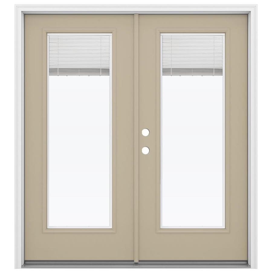 ReliaBilt 71.5-in Blinds Between the Glass Sandy Shore Steel French Inswing Patio Door