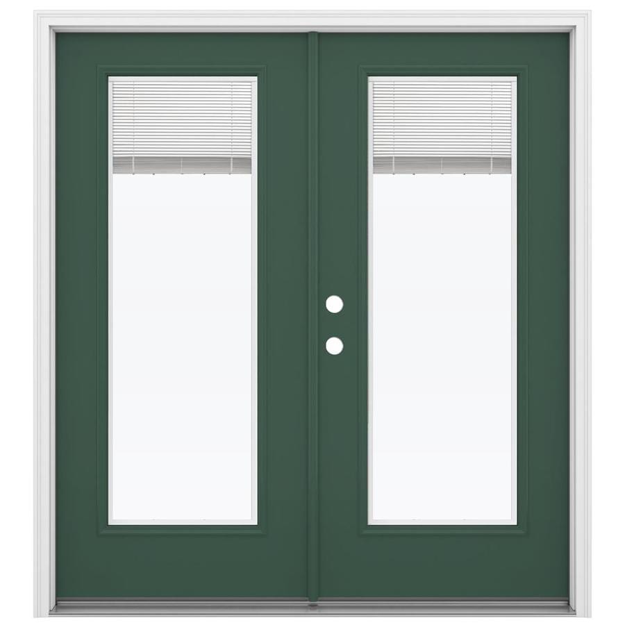 ReliaBilt 71.5-in x 79.5-in Blinds Between The Glass Right-Hand Inswing Green Steel French Patio Door