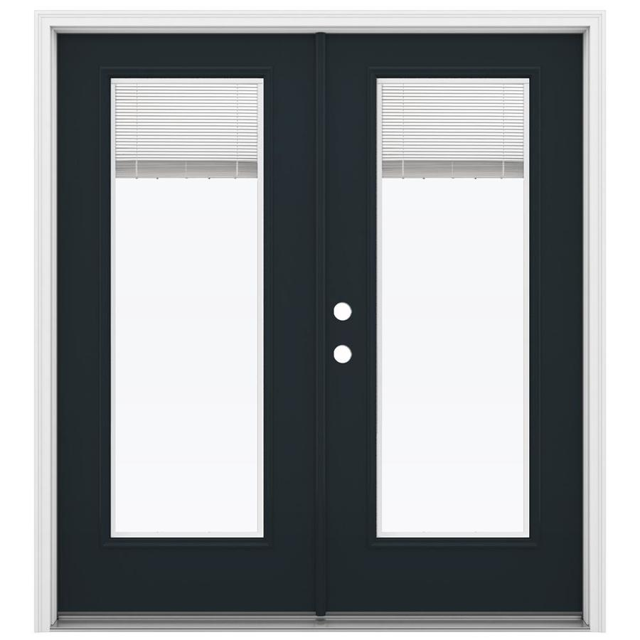 ReliaBilt 71.5-in x 79.5-in Blinds Between The Glass Right-Hand Inswing Black Steel French Patio Door