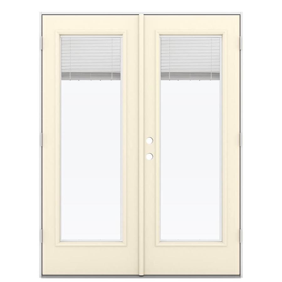 ReliaBilt 59.5-in Blinds Between the Glass Bisque Steel French Outswing Patio Door
