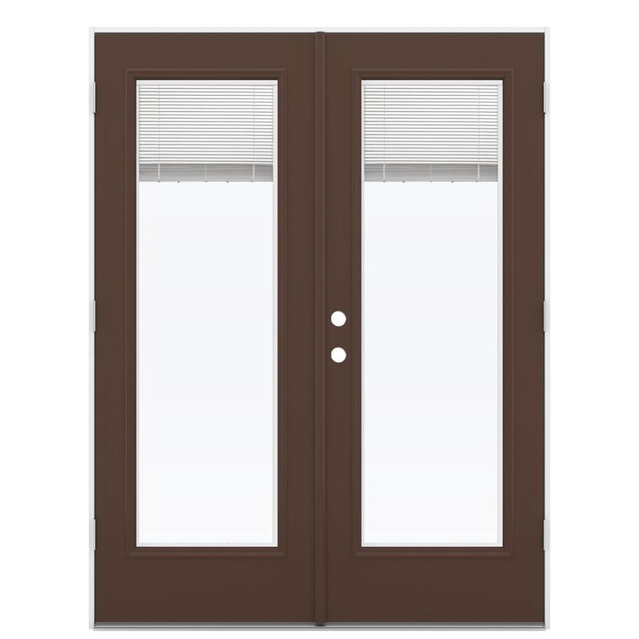 ReliaBilt 59.5-in x 79.5-in Blinds Between The Glass Left-Hand Outswing Brown Steel French Patio Door