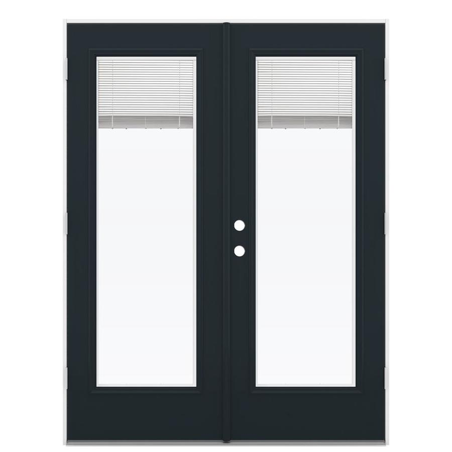 ReliaBilt 59.5-in x 79.5-in Blinds Between the Glass Left-Hand Outswing Steel French Patio Door