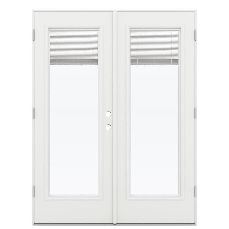 ReliaBilt 59.5-in x 79.5-in Blinds Between The Glass Right-Hand Outswing White Steel French Patio Door