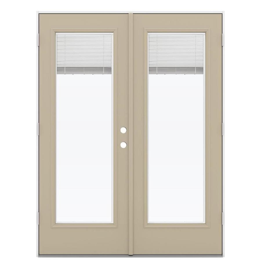 ReliaBilt 59.5-in Blinds Between the Glass Sandy Shore Steel French Outswing Patio Door