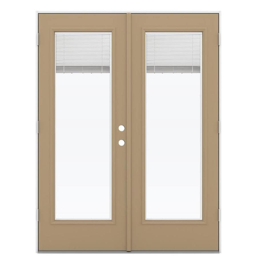 Shop reliabilt 59 5 in blinds between the glass warm wheat Outswing exterior french doors with blinds