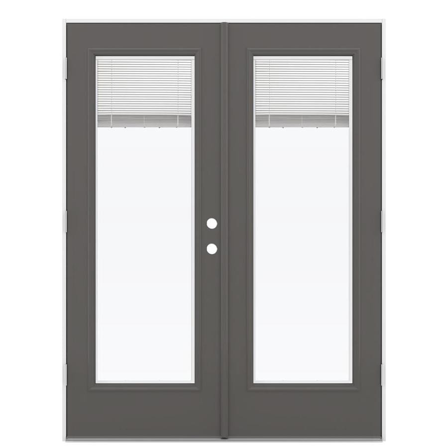 ReliaBilt 59.5-in Blinds Between the Glass Timber Gray Steel French Outswing Patio Door