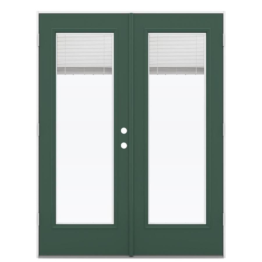 ReliaBilt 59.5-in x 79.5-in Blinds Between The Glass Right-Hand Outswing Green Steel French Patio Door
