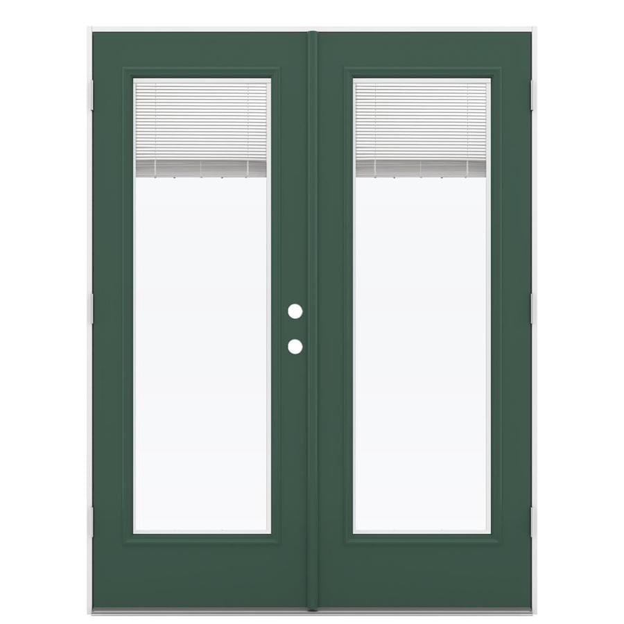 ReliaBilt 59.5-in Blinds Between the Glass Evergreen Steel French Outswing Patio Door