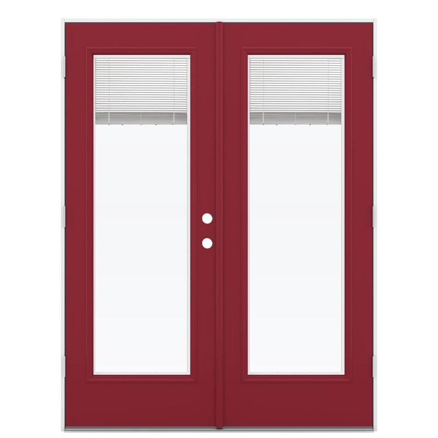 ReliaBilt 59.5-in x 79.5-in Blinds Between The Glass Right-Hand Outswing Red Steel French Patio Door