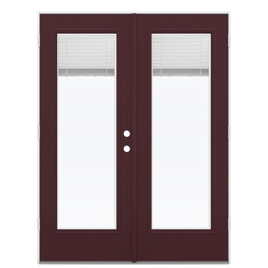 ReliaBilt 59.5-in x 79.5-in Blinds Between The Glass Right-Hand Outswing Brown Steel French Patio Door