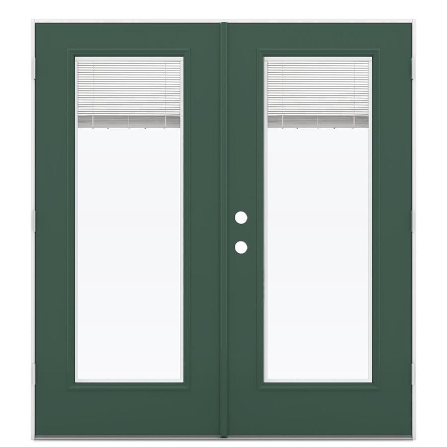 ReliaBilt 71.5-in x 79.5-in Blinds Between The Glass Left-Hand Outswing Green Steel French Patio Door