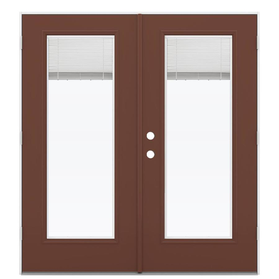 ReliaBilt 71.5-in Blinds Between the Glass Foxtail Steel French Outswing Patio Door