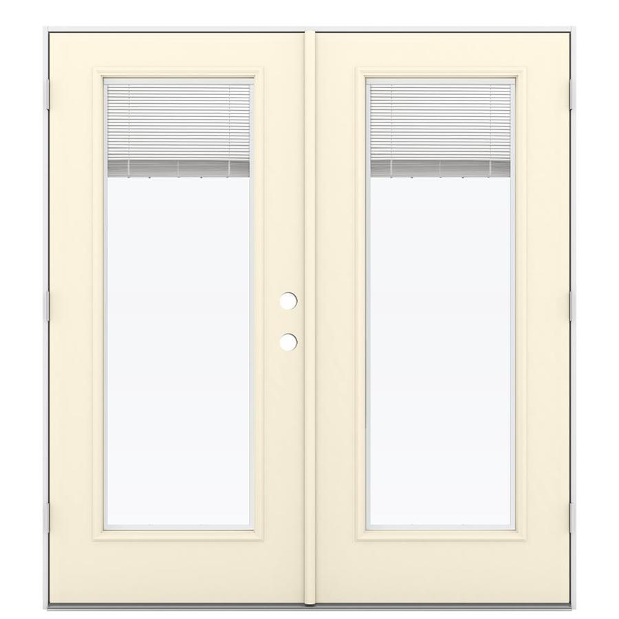 ReliaBilt 71.5-in x 79.5-in Blinds Between The Glass Right-Hand Outswing Off-White Steel French Patio Door