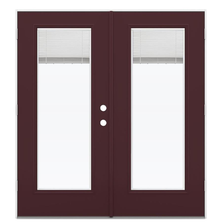 ReliaBilt 71.5-in Blinds Between the Glass Currant Steel French Outswing Patio Door