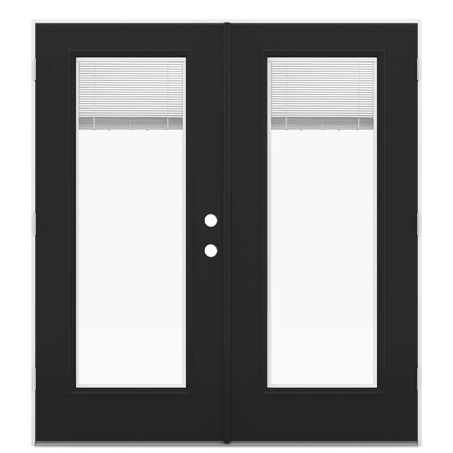 ReliaBilt 71.5-in Blinds Between the Glass Peppercorn Steel French Outswing Patio Door