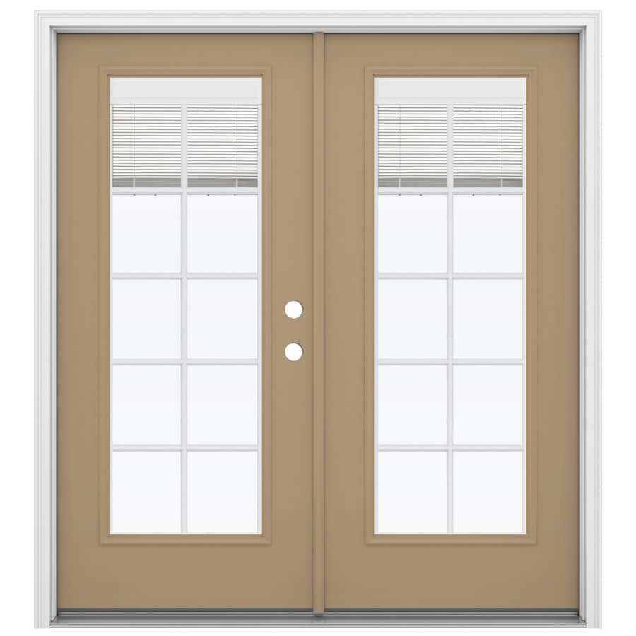 ReliaBilt 71.5-in x 79.5-in Blinds Between The Glass Left-Hand Inswing Brown Steel French Patio Door