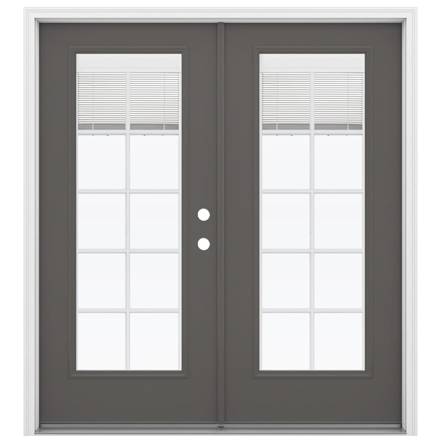 ReliaBilt 71.5-in Blinds Between the Glass Timber Gray Steel French Inswing Patio Door