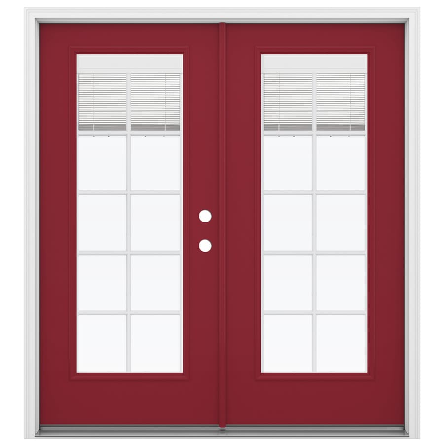 ReliaBilt 71.5-in Blinds Between the Glass Roma Red Steel French Inswing Patio Door