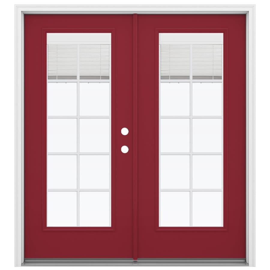 ReliaBilt 71.5-in x 79.5-in Blinds Between The Glass Left-Hand Inswing Red Steel French Patio Door