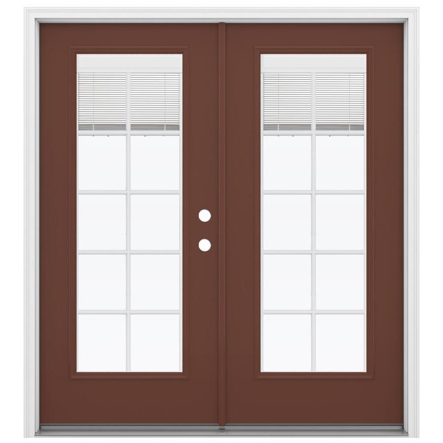 ReliaBilt 71.5-in x 79.5-in Blinds Between The Glass Left-Hand Inswing Brown Steel French Patio Door