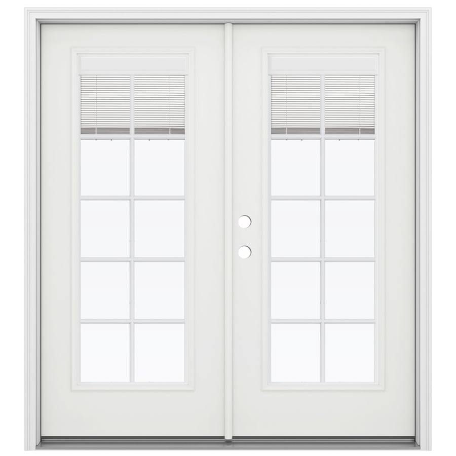 ReliaBilt 71.5-in x 79.5-in Blinds Between the Glass Right-Hand Inswing White Steel French Patio Door