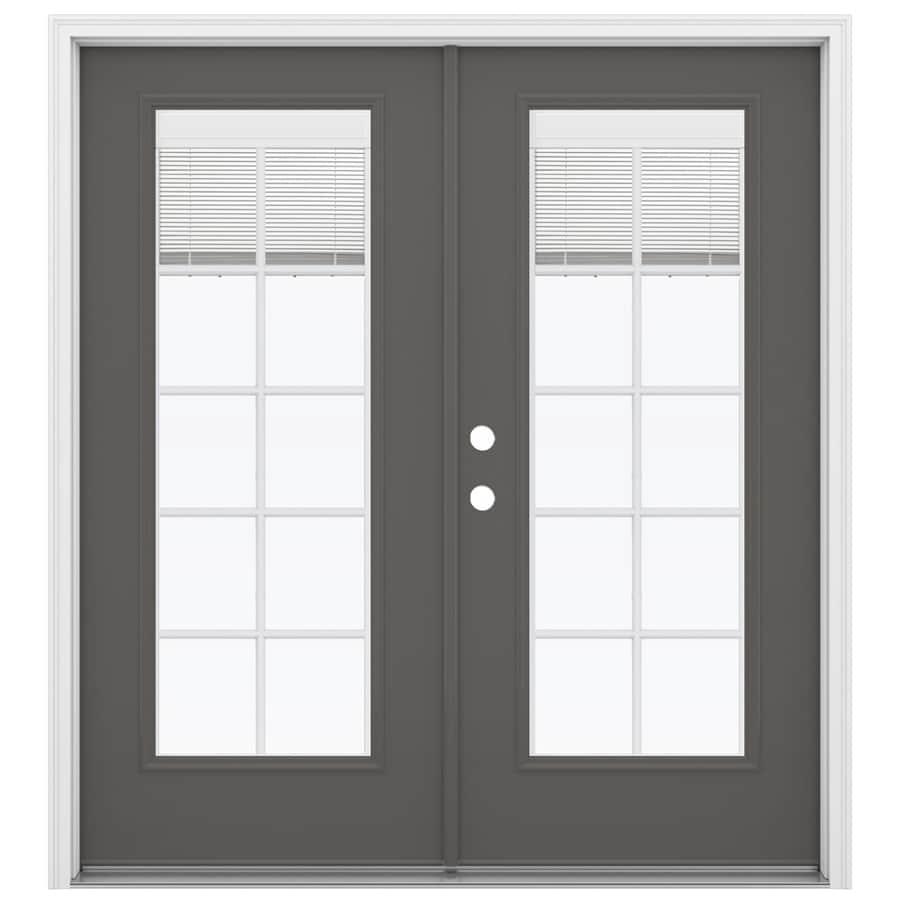 ReliaBilt 71.5-in x 79.5-in Blinds Between the Glass Right-Hand Inswing Gray Steel French Patio Door
