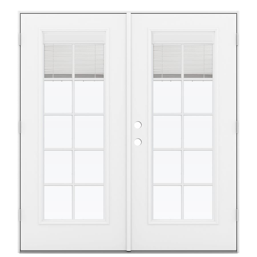 ReliaBilt 71.5-in Blinds Between the Glass Primed Steel French Outswing Patio Door