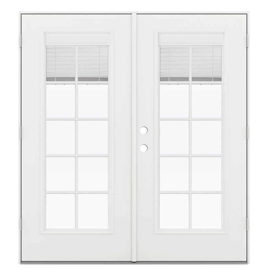 Shop jeld wen 71 5 in x 79 5 in blinds between the glass Outswing exterior french doors with blinds