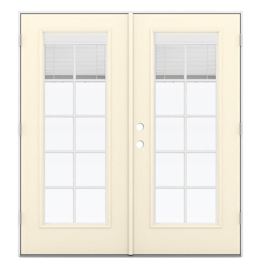 ReliaBilt 71.5-in Blinds Between the Glass Bisque Steel French Outswing Patio Door