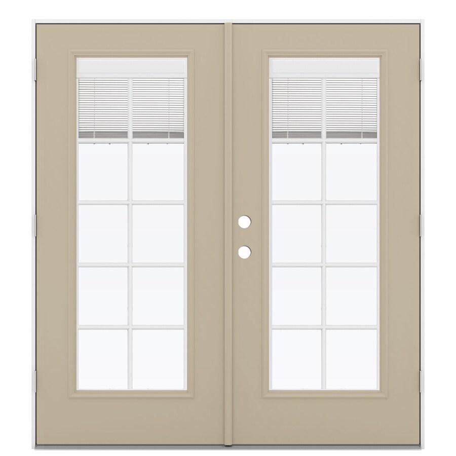 ReliaBilt 71.5-in Blinds Between the Glass Sandy Shore Steel French Outswing Patio Door