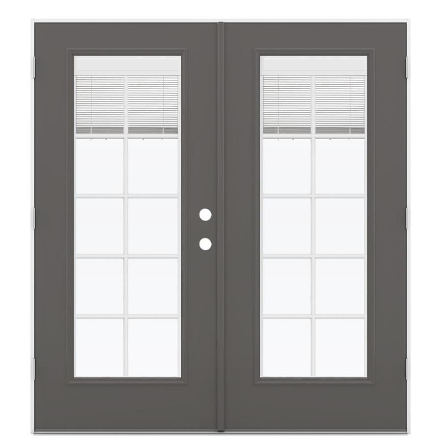 ReliaBilt 71.5-in x 79.5-in Blinds Between The Glass Right-Hand Outswing Gray Steel French Patio Door