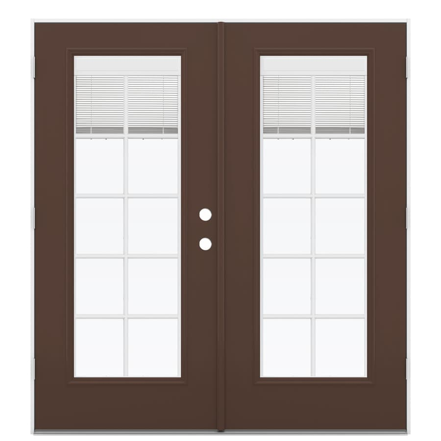 Shop reliabilt 71 5 in blinds between the glass chococate for Outswing french doors