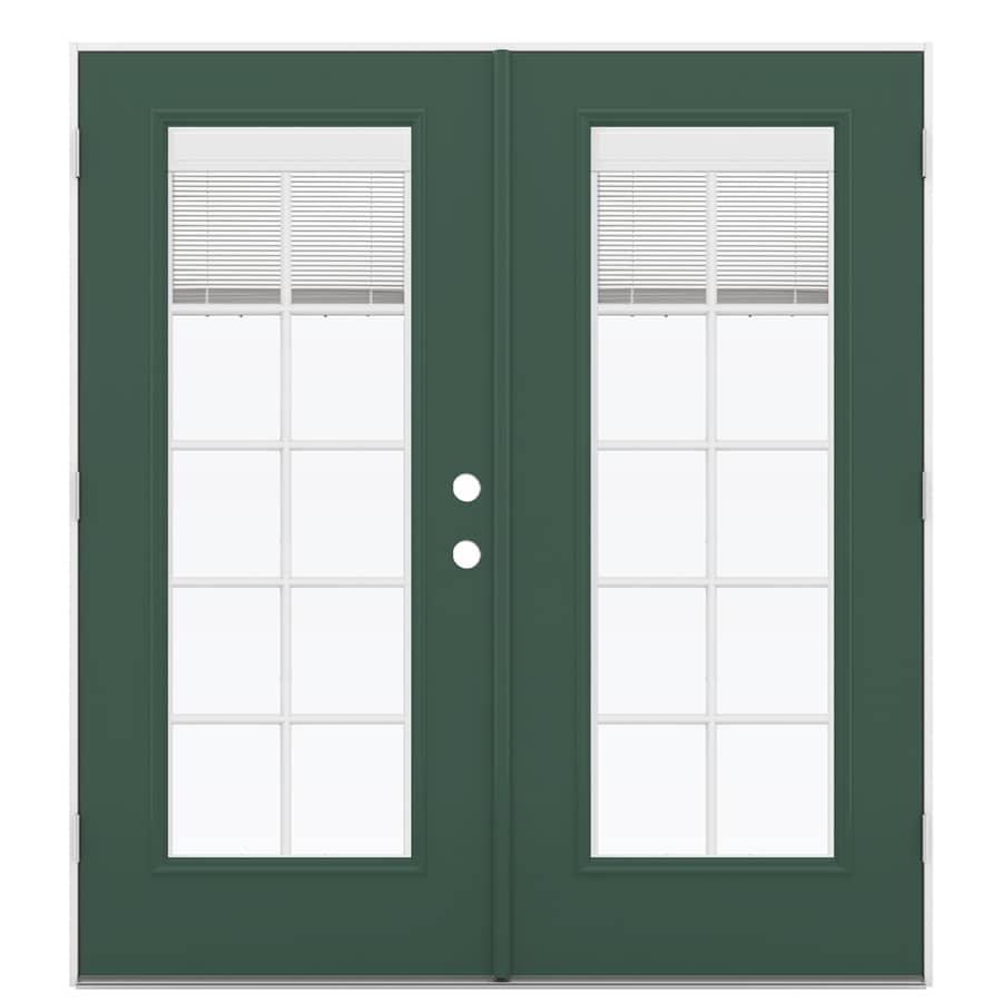 ReliaBilt 71.5-in Blinds Between the Glass Evergreen Steel French Outswing Patio Door
