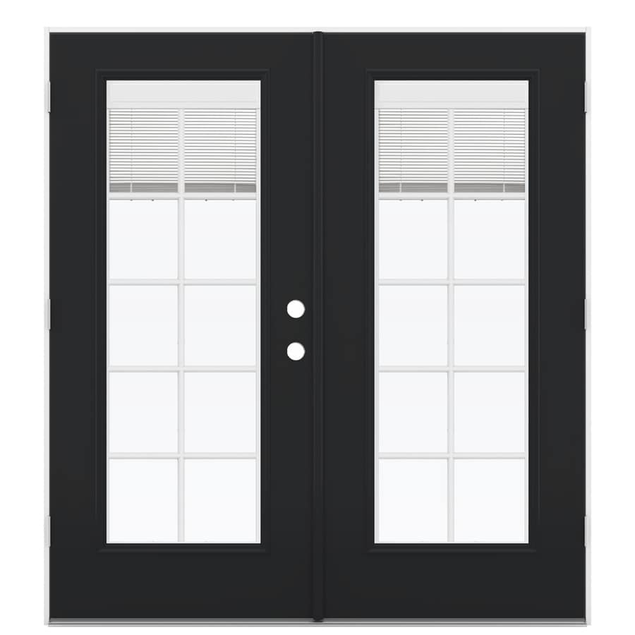 ReliaBilt 71.5-in x 79.5-in Blinds Between The Glass Right-Hand Outswing Black Steel French Patio Door