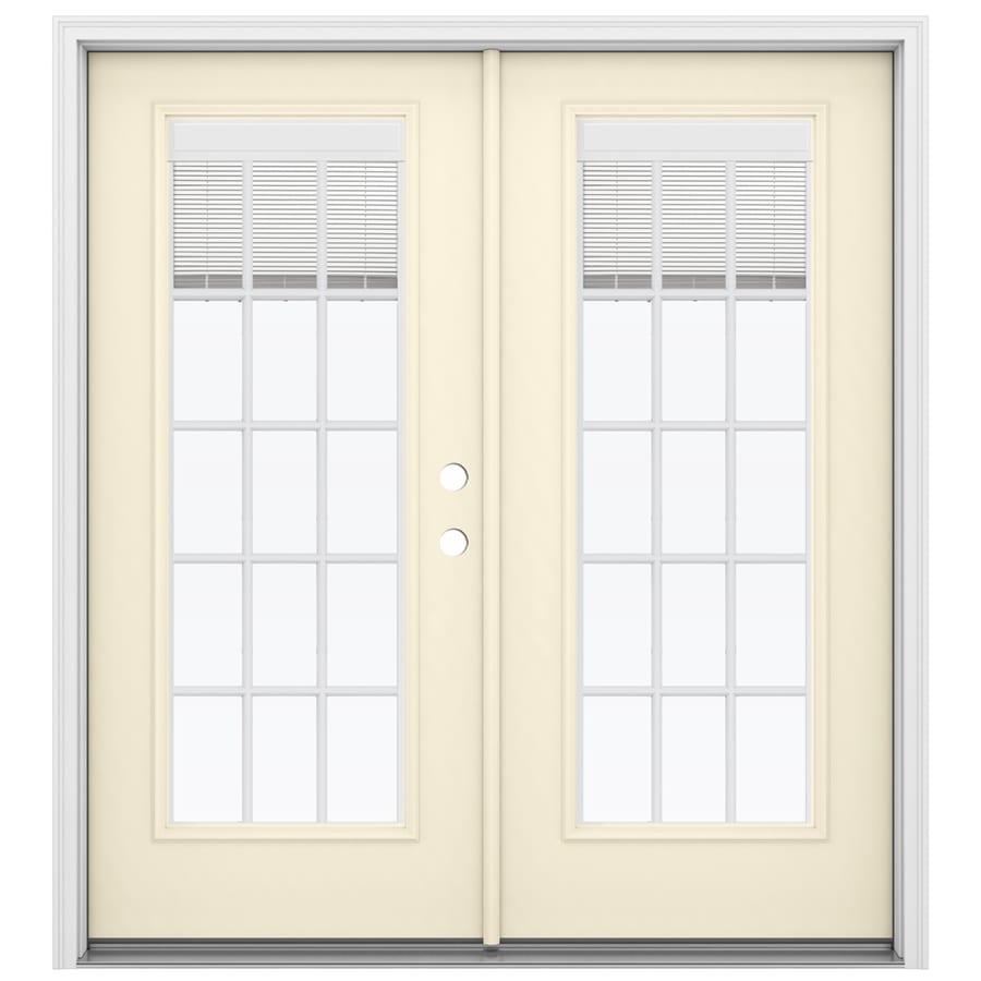 ReliaBilt 71.5-in Blinds Between the Glass Bisque Steel French Inswing Patio Door