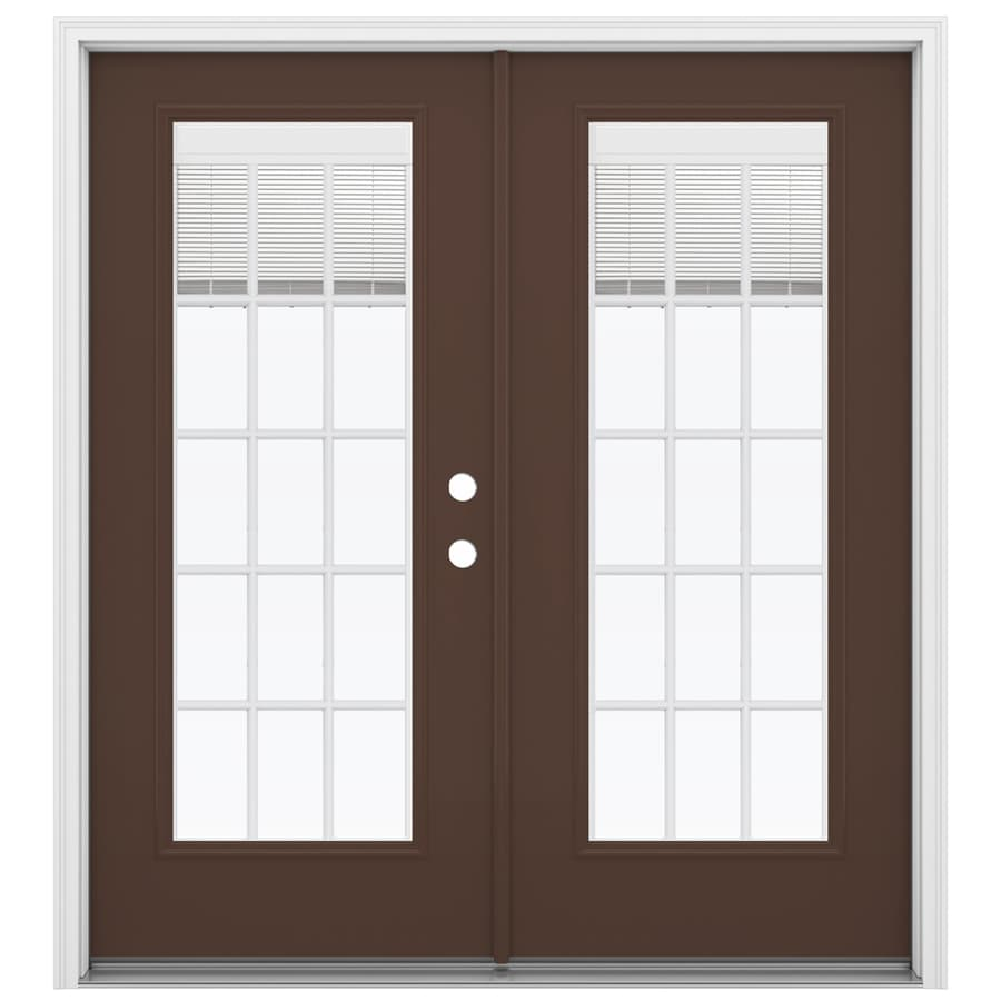 Shop reliabilt 71 5 in blinds between the glass chococate for Glass french doors