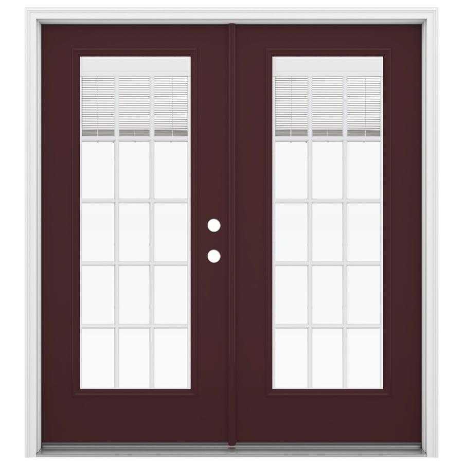 ReliaBilt 71.5-in x 79.5-in Blinds Between the Glass Left-Hand Inswing Steel French Patio Door