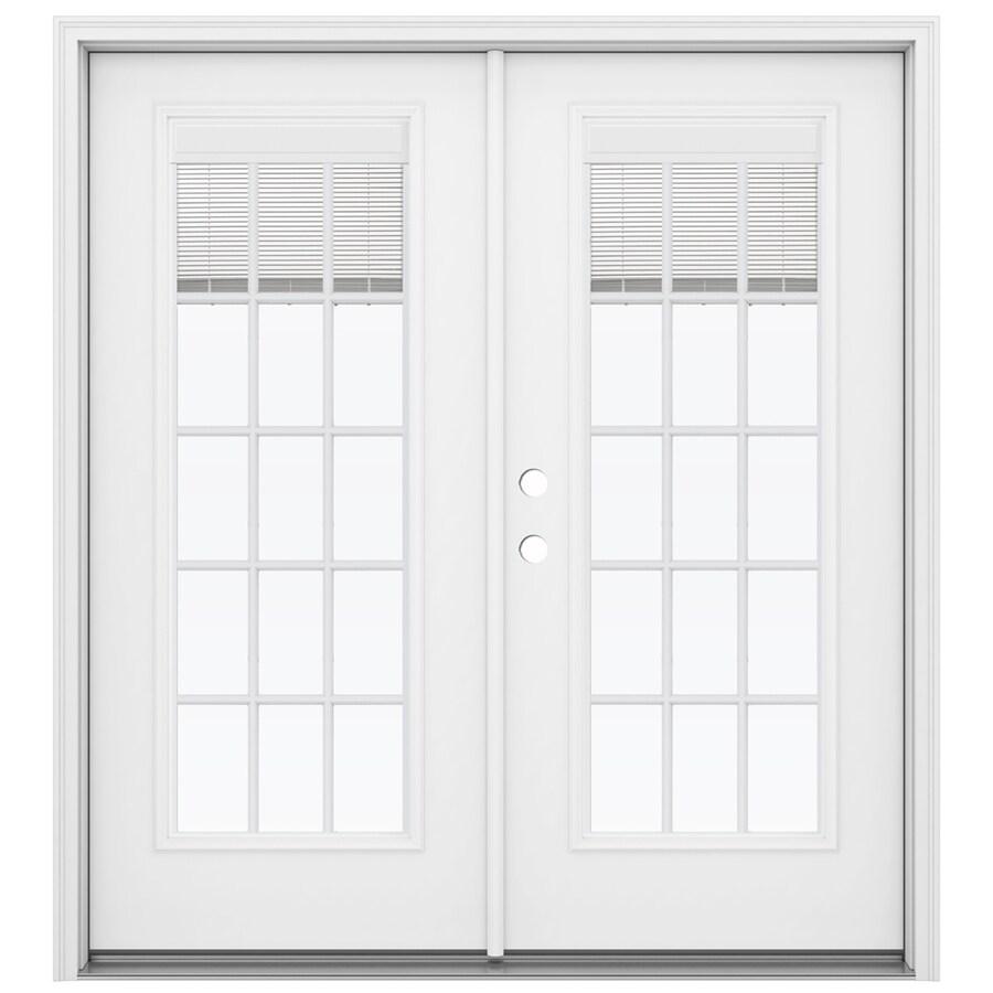 ReliaBilt 71.5-in Blinds Between the Glass Primed Steel French Inswing Patio Door