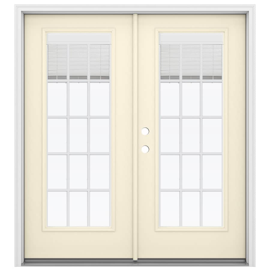 Shop Reliabilt 71 5 In Blinds Between The Glass Bisque Steel French Inswing Patio Door At