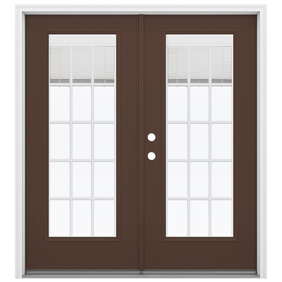 ReliaBilt 71.5-in x 79.5-in Blinds Between The Glass Right-Hand Inswing Brown Steel French Patio Door