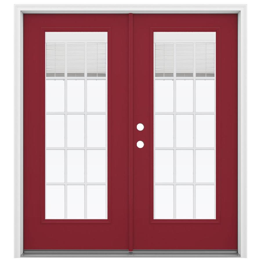 ReliaBilt 71.5-in x 79.5-in Blinds Between The Glass Right-Hand Inswing Red Steel French Patio Door