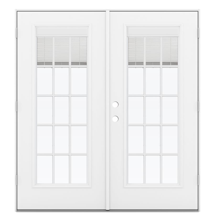 ReliaBilt 71.5-in x 79.5-in Blinds Between The Glass Left-Hand Outswing White Steel French Patio Door