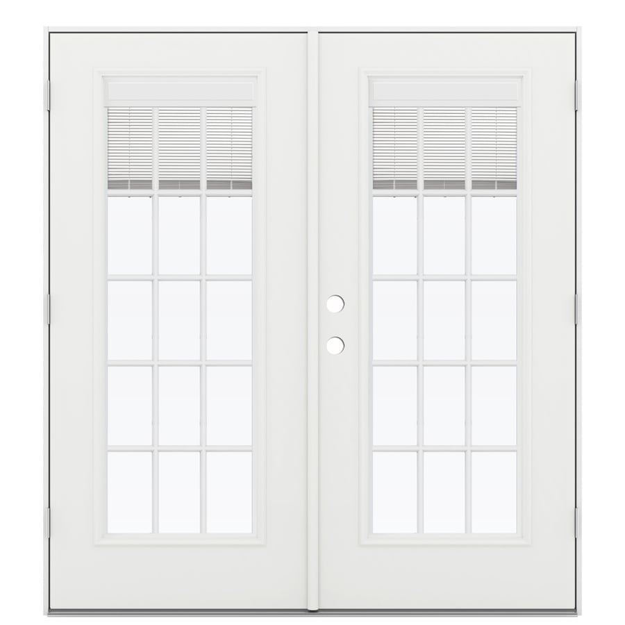 ReliaBilt 71.5-in Blinds Between the Glass Arctic White Steel French Outswing Patio Door