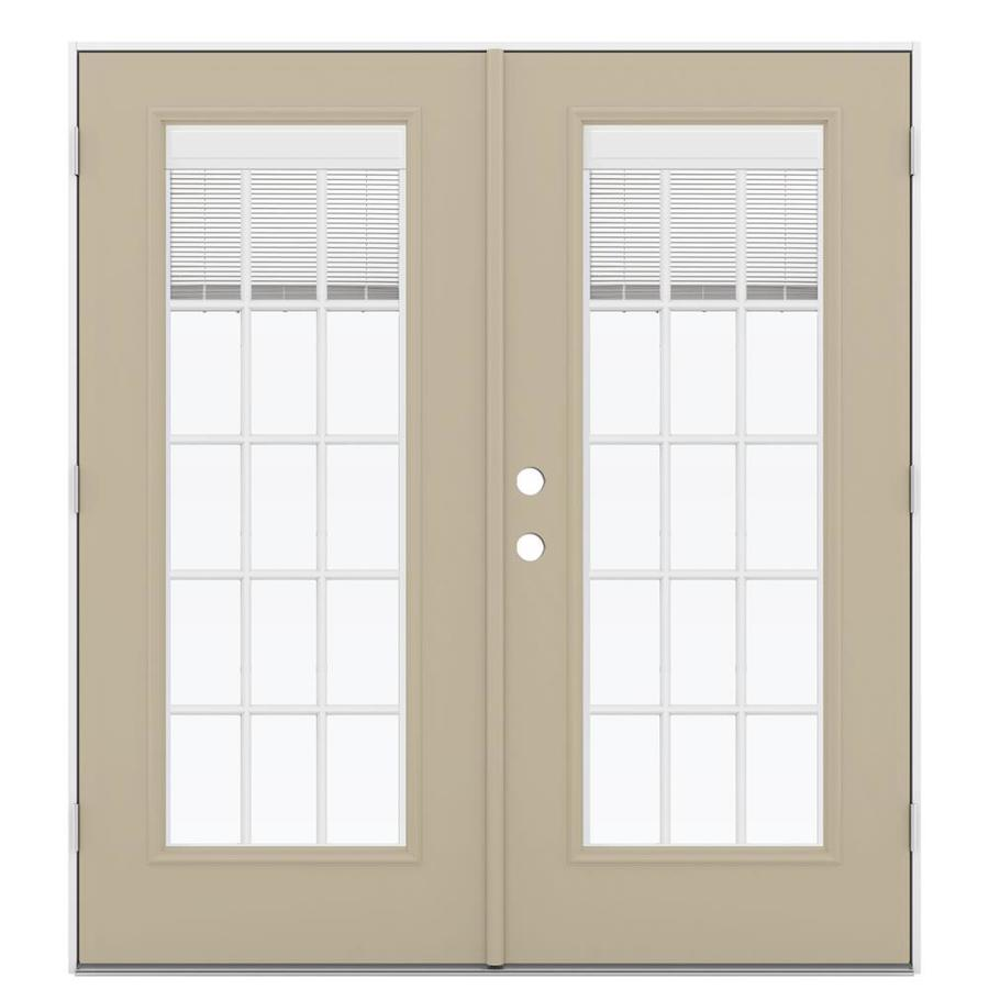 ReliaBilt 71.5-in x 79.5-in Blinds Between the Glass Left-Hand Outswing Steel French Patio Door