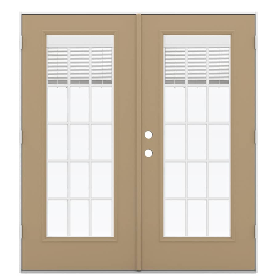 ReliaBilt 71.5-in Blinds Between the Glass Warm Wheat Steel French Outswing Patio Door