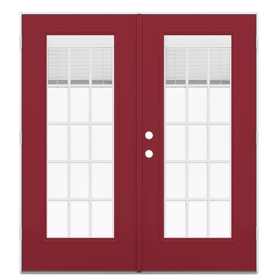 ReliaBilt 71.5-in x 79.5-in Blinds Between The Glass Left-Hand Outswing Red Steel French Patio Door