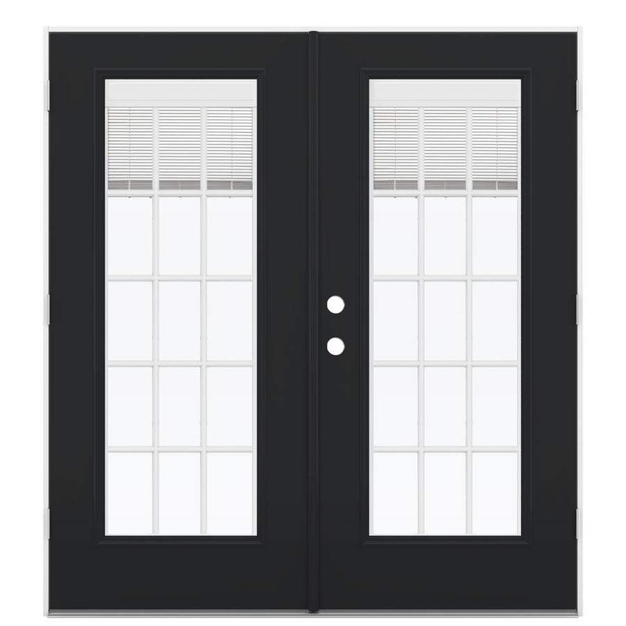 ReliaBilt 71.5-in Blinds Between the Glass Peppercorn Steel French Outswing Patio Door