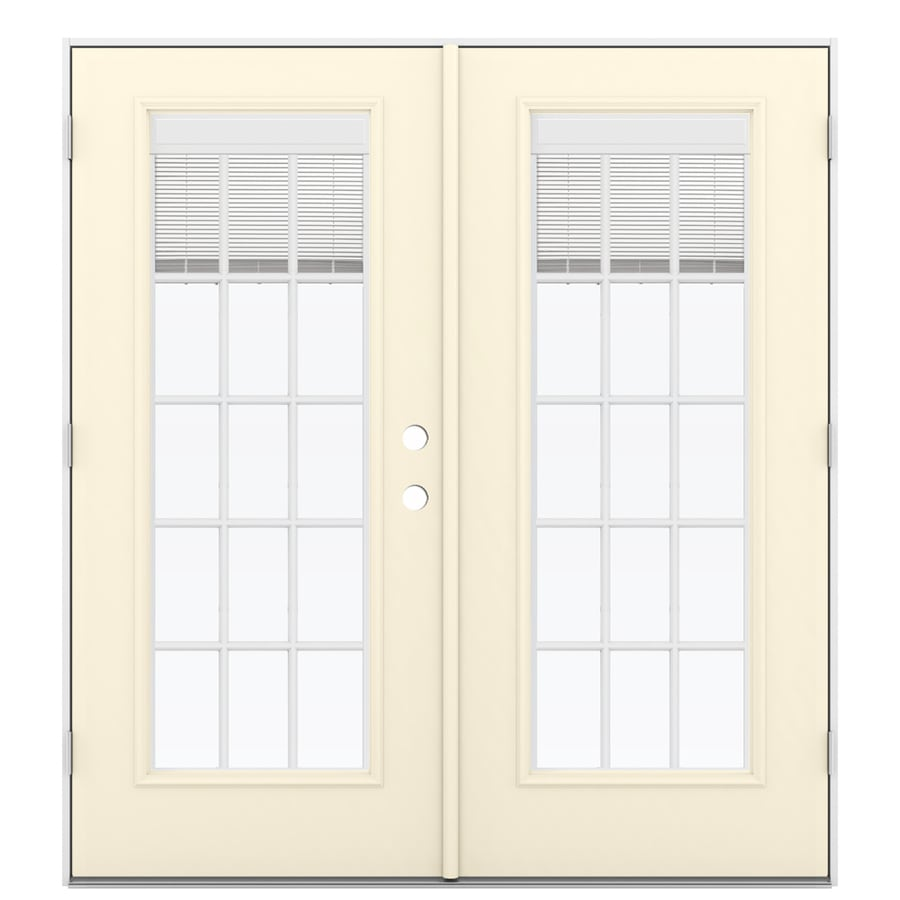 ReliaBilt 71.5-in Blinds Between the Glass Bisque Steel French Outswing Patio Door
