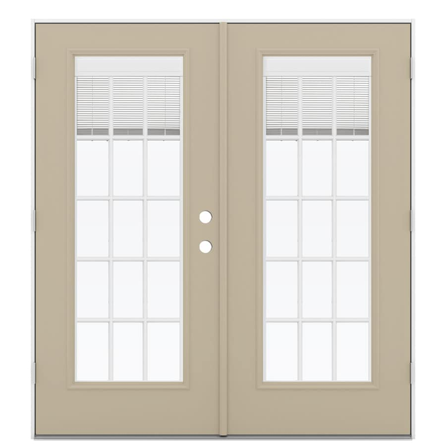 ReliaBilt 71.5-in x 79.5-in Blinds Between The Glass Right-Hand Outswing Brown Steel French Patio Door