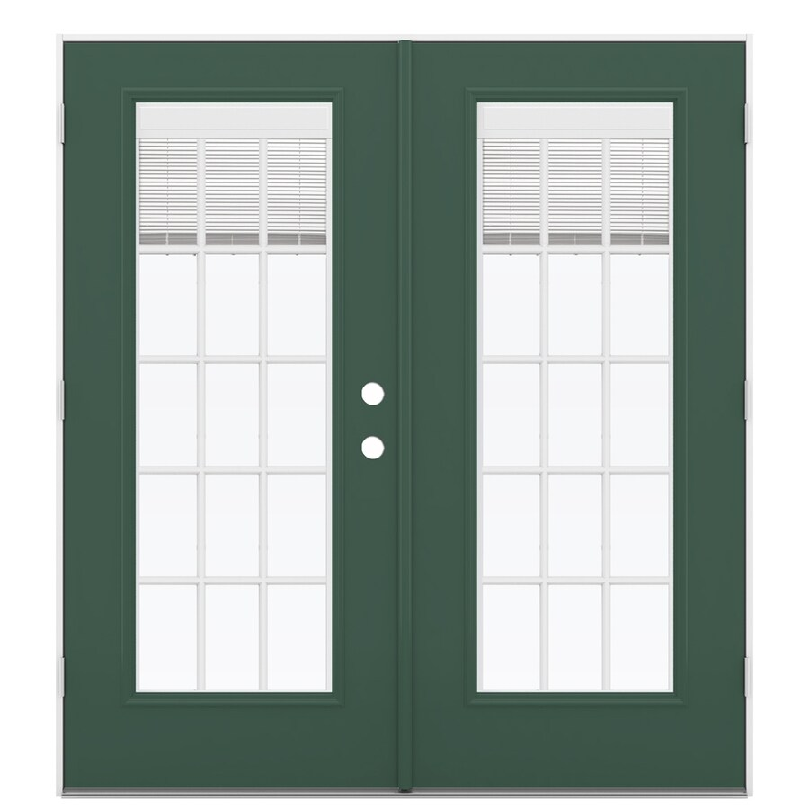 ReliaBilt 71.5-in x 79.5-in Blinds Between the Glass Right-Hand Outswing Green Steel French Patio Door